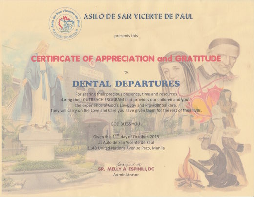 Medical Departures Team got certification from Asilo de San Vicente de Paul Orphanage